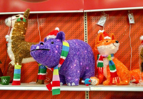 A Christmas llama, hippo, and fox. All the hallmarks of a traditional Christmas in the United States of America.
