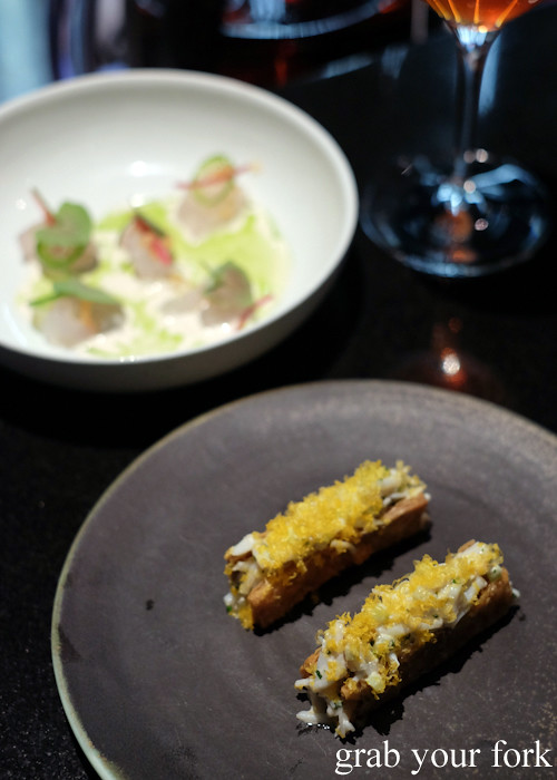 Crab in chicken skin at Momofuku Seiobo at the Star in Sydney