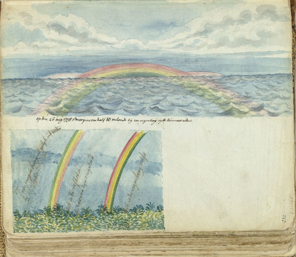 Color drawings of a rainbow at sea and on land. With inscription. Part of the sketchbook of Jan Brandes, Vol. 1 (1808)