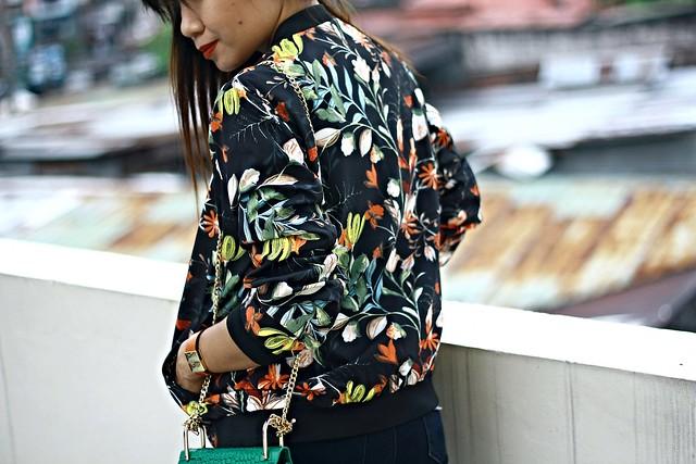 floral bomber jacket, sammydress, bomber jacket, zara jacket