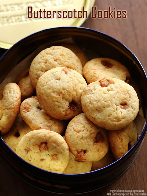 Eggless Butterscotch Cookies Recipe