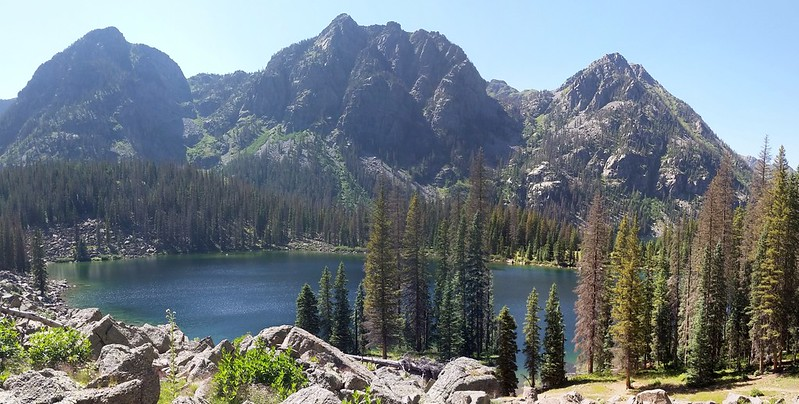 Little Emerald Lake and Peak 12083, an unnamed peak, and Peak 12415 - Dollar Lake is nestled up there