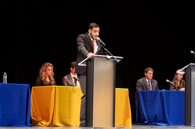 Student political organizations debate in Mitchell Hall
