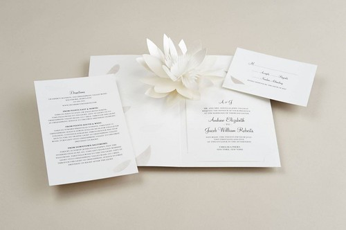 UWP Luxe Printable Pop Up Flower Blossom Wedding Invitation Set