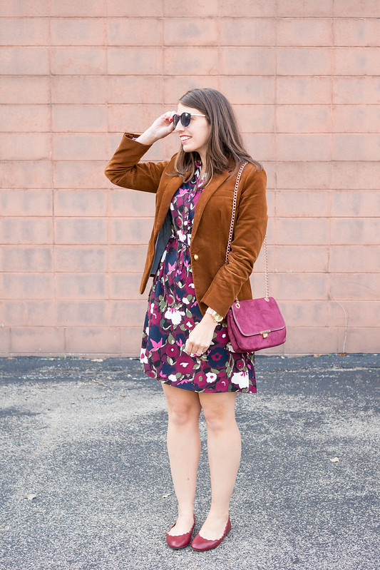 floral print shirt dress + J.Crew corduroy blazer + scallop ballet flats; fall work outfit | Style On Target blog