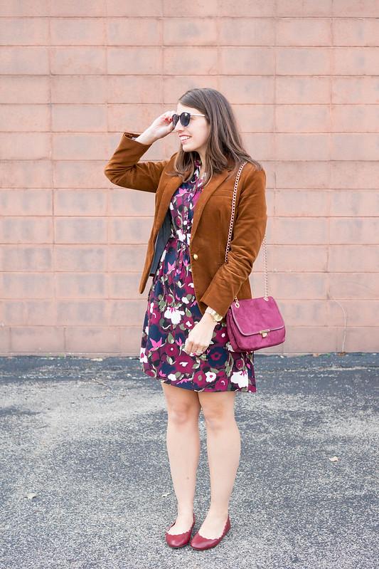 floral print shirt dress + J.Crew corduroy blazer + scallop ballet flats; fall work outfit   Style On Target blog