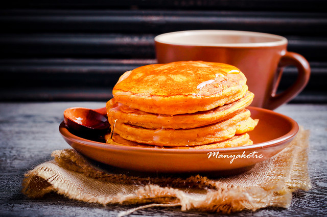 Pumpkin pancakes on plate