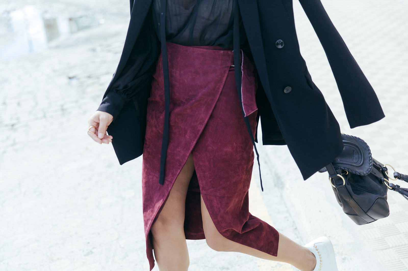 Jessie Chanes Seams for a desire - Burgundy Midi Skirt -8