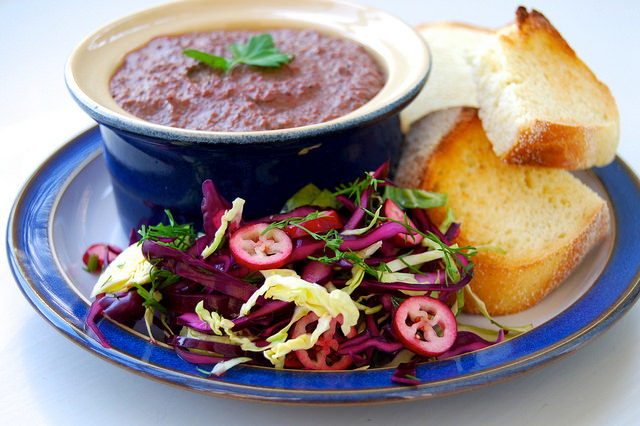 Easy Chicken Liver Pate with Winter Slaw | www.rachelphipps.com @rachelphipps