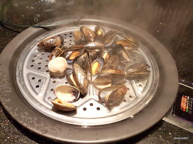 Saltspring mussels in steamer