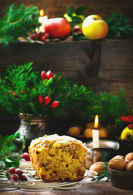 Christmas apples cake  on a Christmas rustic  background.
