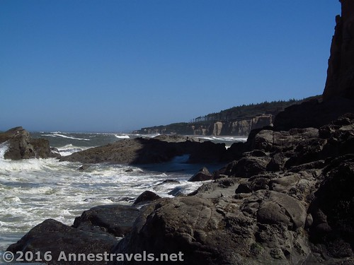 Looking back toward Floras Lake Beach from part way around the headland, Oregon