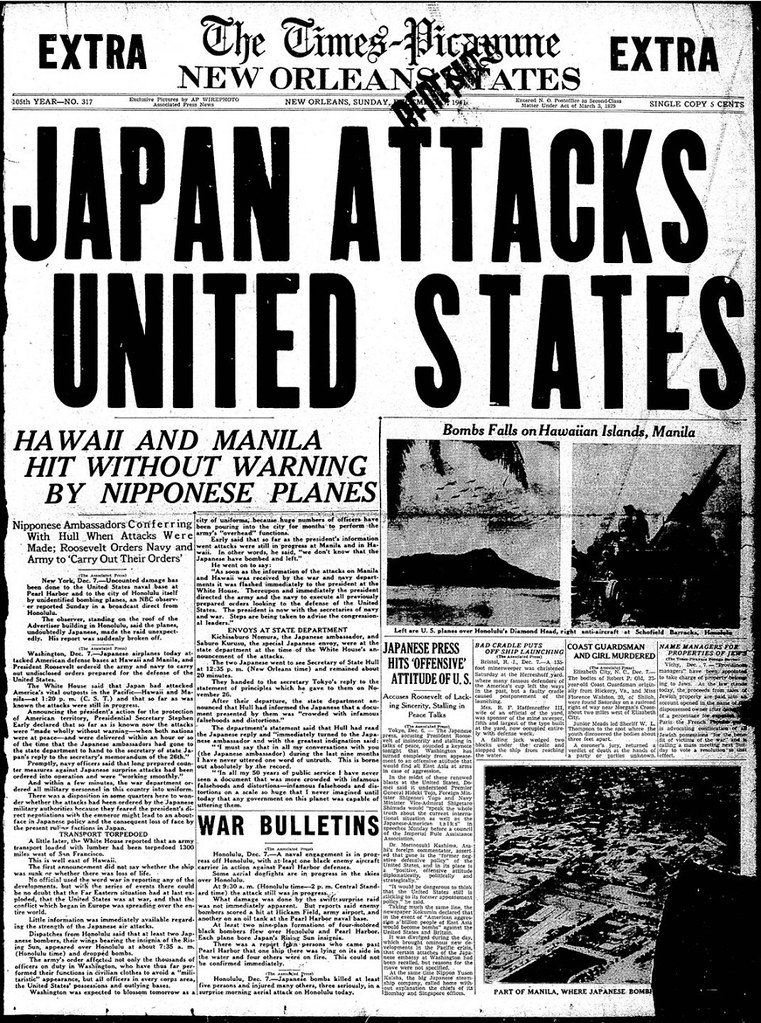 Edición extra de The Times-Picayune, publicada el 7 de diciembre de 1941