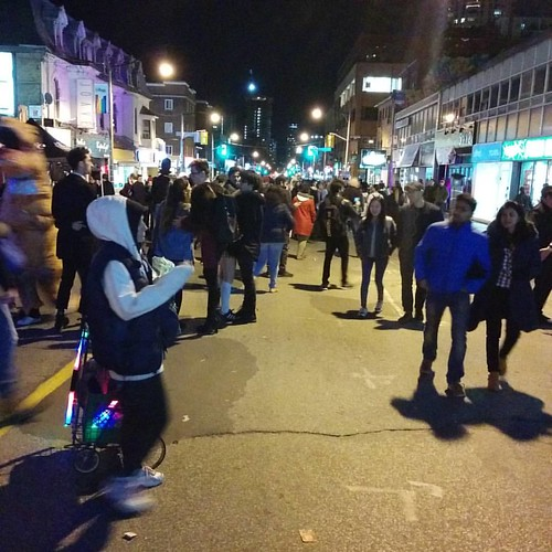 The crowd at midnight, facing south #toronto #churchandwellesley #churchstreet #halloween