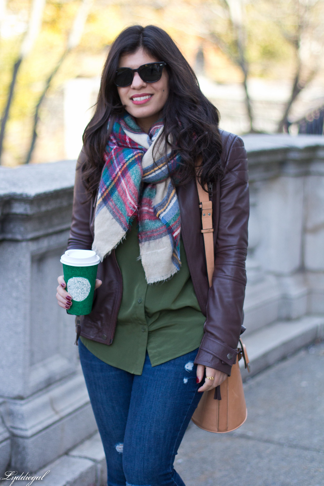 brown leather jacket, plaid blanket scarf, brown booties-4.jpg