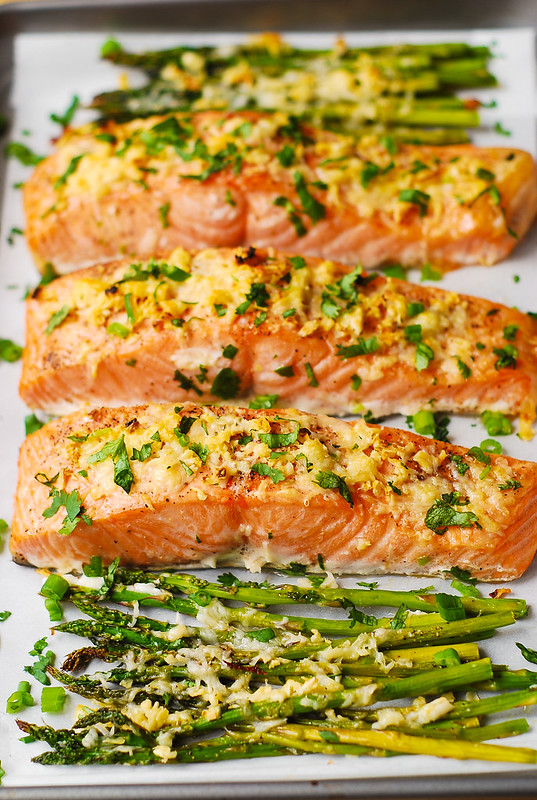 Seafood Dinner Party Ideas Part - 35: Garlic Parmesan Crusted Salmon And Asparagus