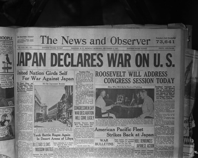 NO_41_12_395 Front page of the Raleigh N and O-Japan Declares War