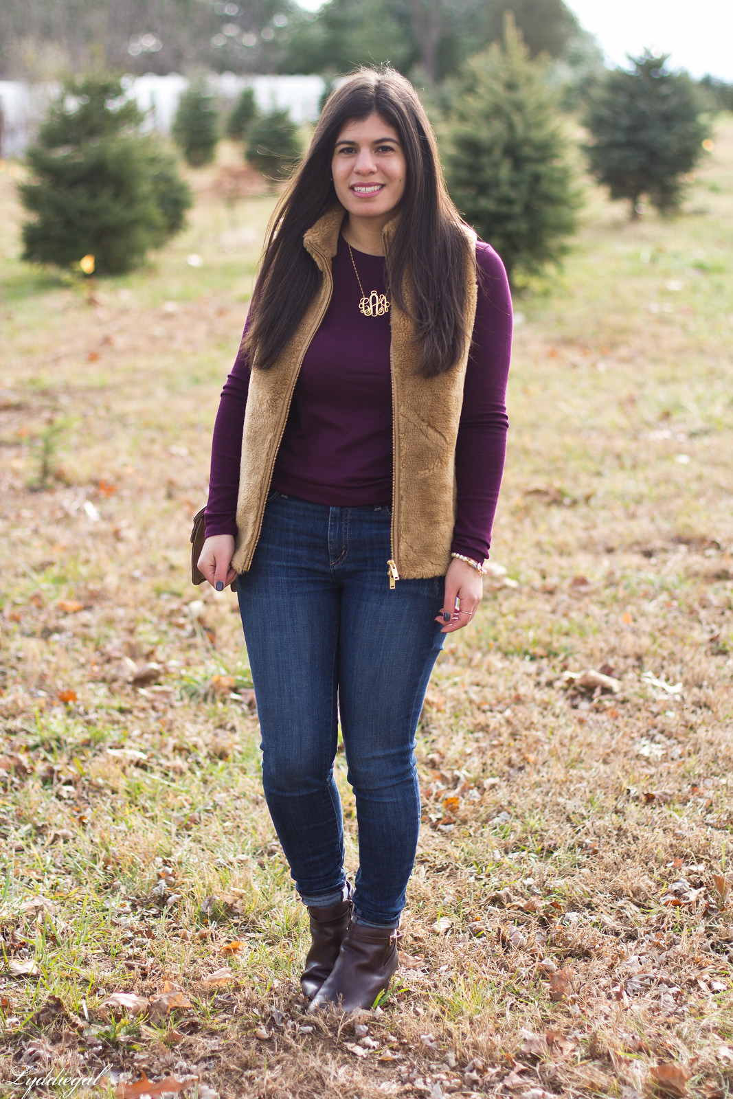 burgundy top, j.crew fleece vest, monogram necklace.jpg
