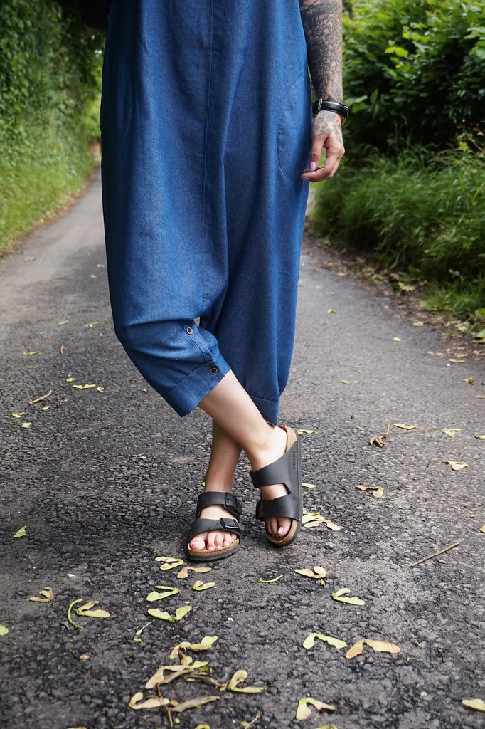 jumpsuit, denim jumpsuit,katelouiseblog,asos,birkenstocks,new look, new look mini backpack, rayban,rayban round,ootd,out of the day,updo,casual outfit, street style,