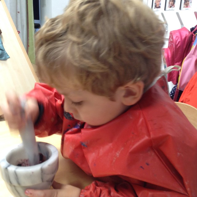 Mixing Paint in Preschool