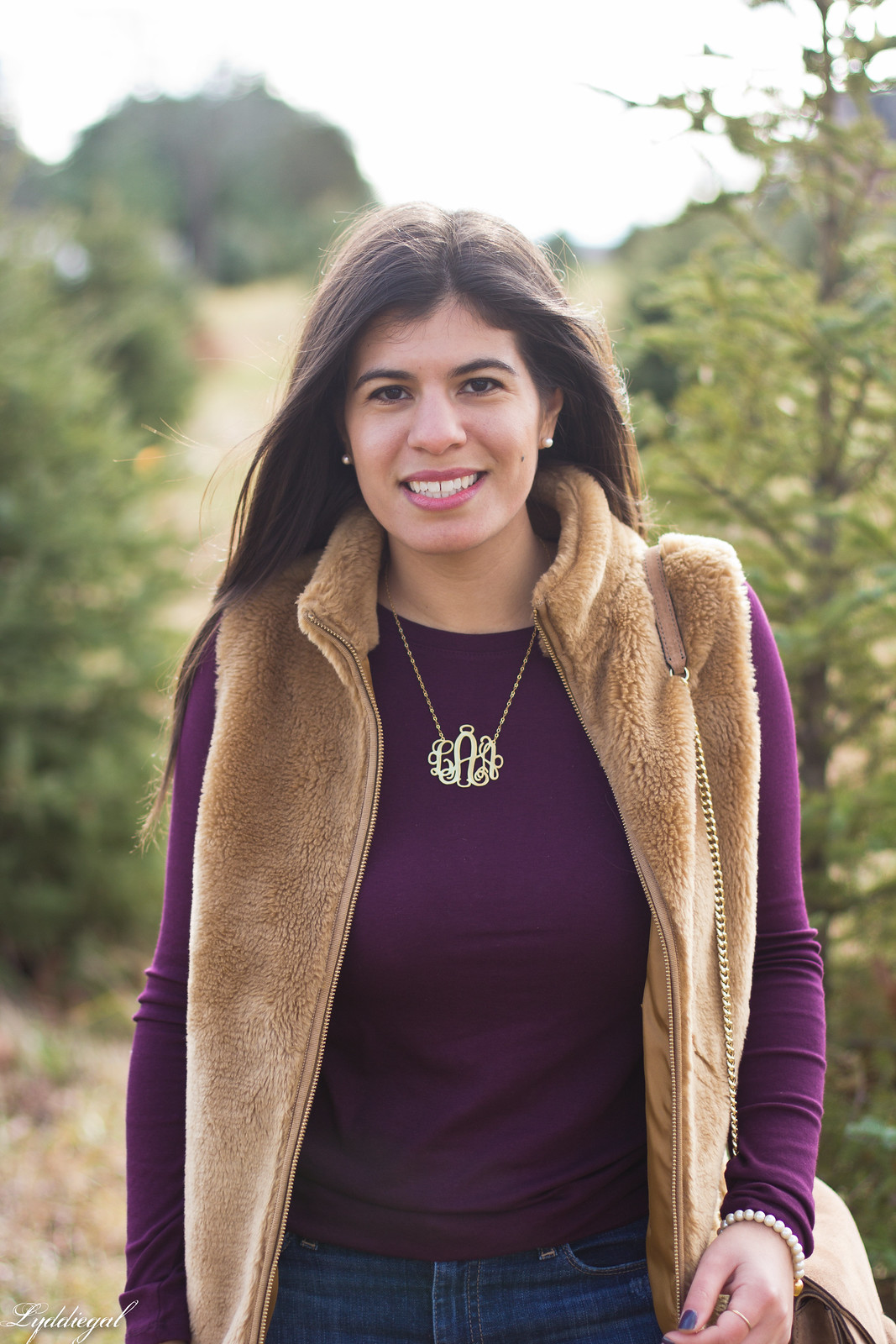 burgundy top, j.crew fleece vest, monogram necklace-8.jpg