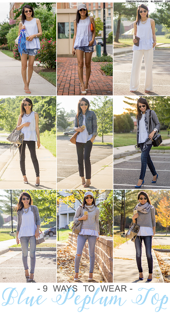 9 ways to wear: baby blue peplum top