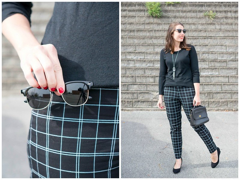 black grid print pants + black sweater + black wedge heels + gray Kendra Scott necklace Style On Target blog
