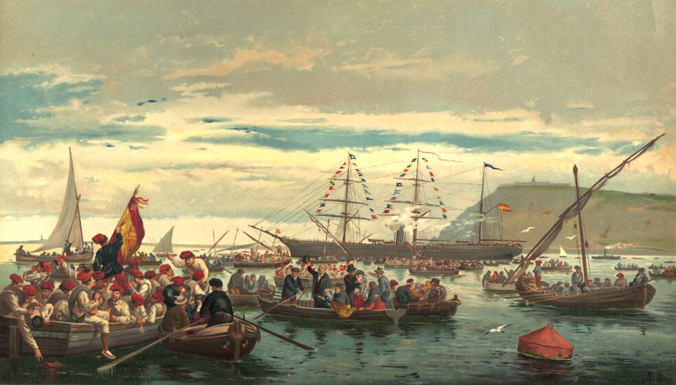 Départ des volontaires catalans depuis Barcelone pour la guerre de Cuba contre les Etats-Unis en 1898.
