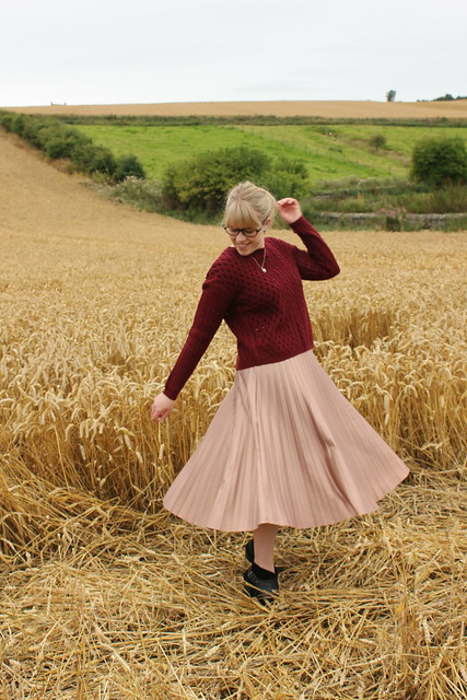 Rose gold skirt and burgundy cable knit