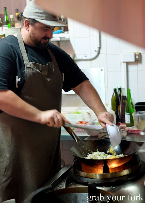 Mike Eggert in the kitchen at Good Luck Pinbone in Kingsford