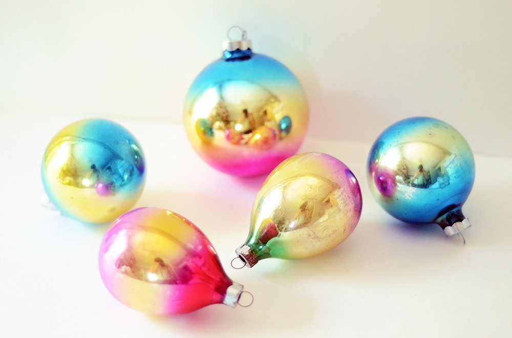 Five Vintage Ombre Ornaments