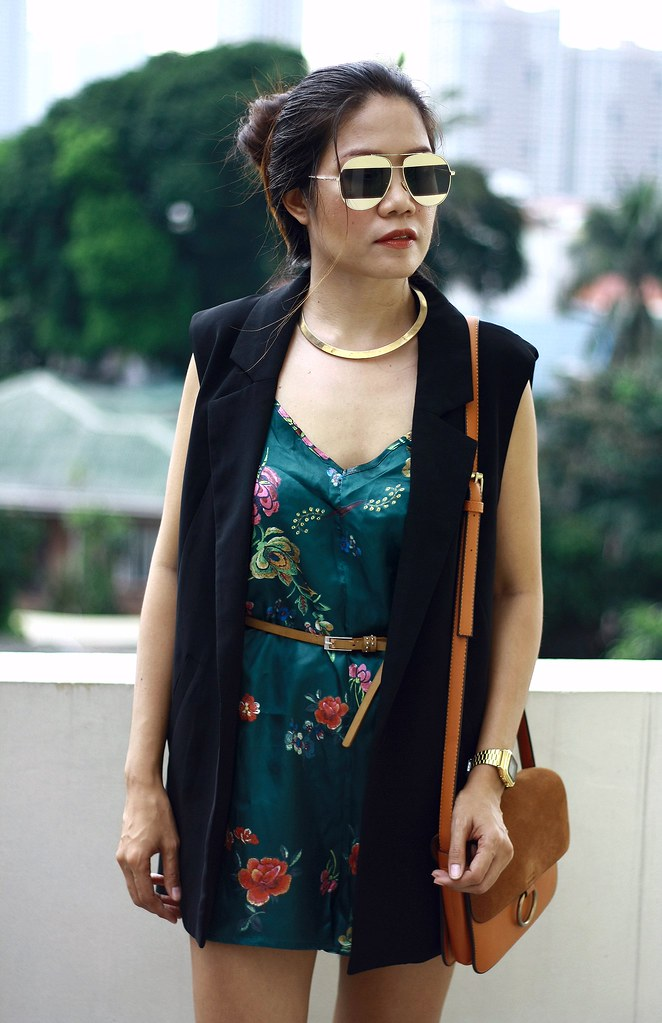 green romper, floral romper, black blazer, sunglass, brown bag
