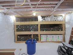 View of the core storage trench with all of the brittle ice (on the shelves) that needed to be cut into 1-meter-long sections and packed for shipment back to the USA