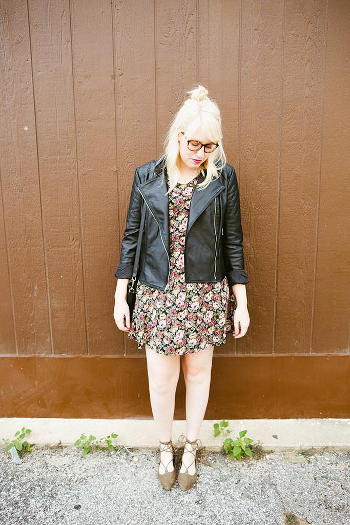 writes like a girl vintage floral dress bb dakota pierre moto jacket1