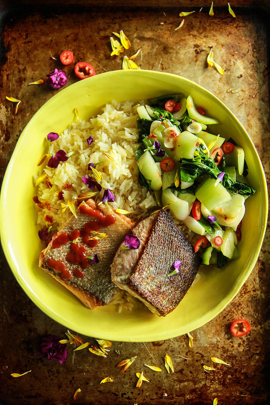 Pan Fried Salmon with Crispy Ginger Rice and Spicy Bok Choy