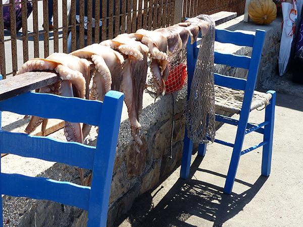 poulpes sur deux chaises au bout d ela jetée