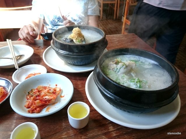 Chicken broth soup at Baeyke Samgyetang