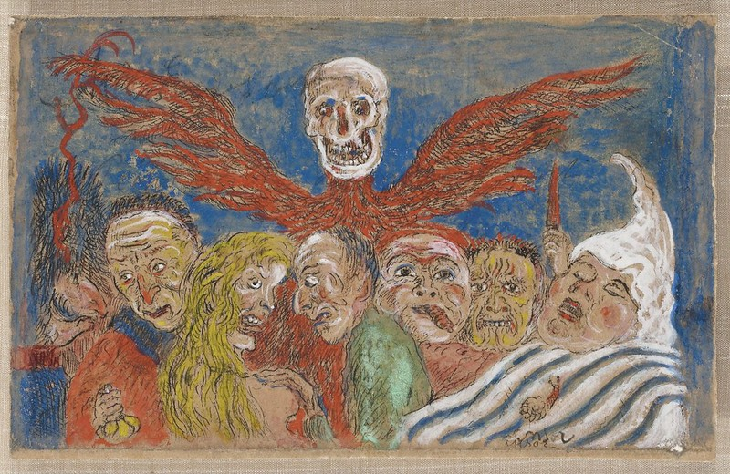 "James Ensor - The Deadly Sins dominated by Death, from ""The Seven Deadly Sins,"" colored version 2, 1904"