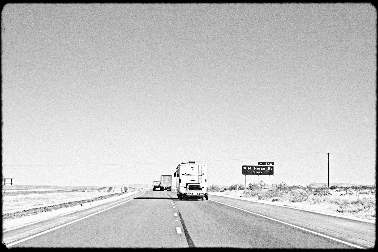 RV Towing Car Near Wild Horse Rd. Exit, Texas, 2006