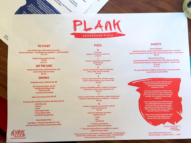 Plank Pizza Menu