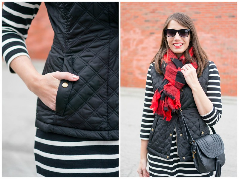 black and white stripe dress + black vest + black tassel crossbody purse + black and red buffalo plaid scarf | Style On Target blog