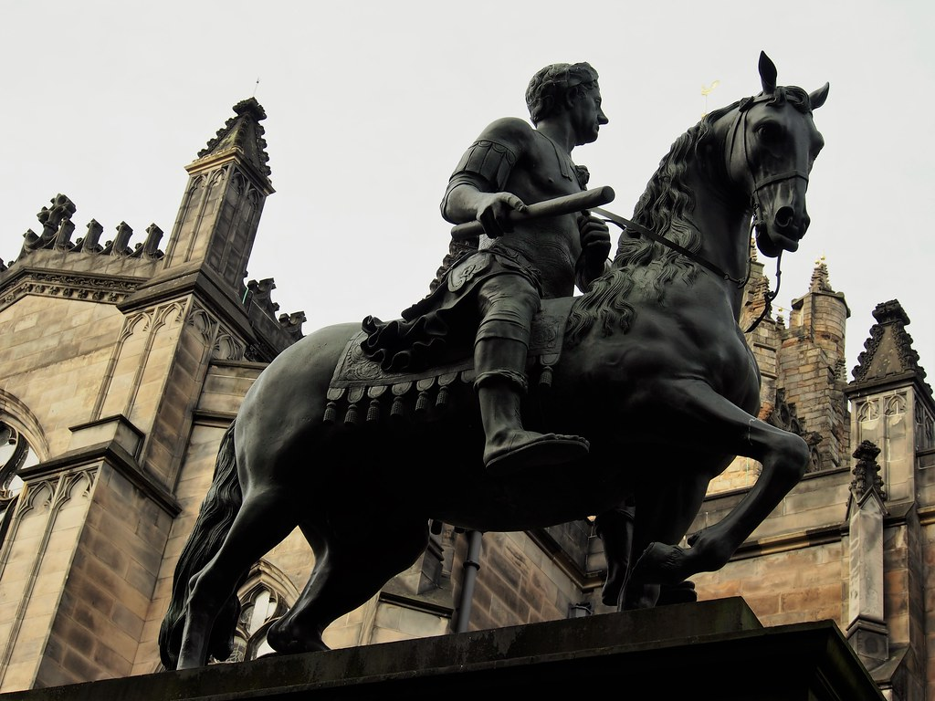 Equine statue of King Charles II in Parliament Square, Edinburgh.