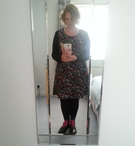 It's an appalling photo*, but my pinafore hack of the @sewmesomething #Katedress in needlecord is finished! (I need to either line the next one or get a longer petticoat as the hem creeps up my tights when I walk, which is a bit irritating. I wonder wheth