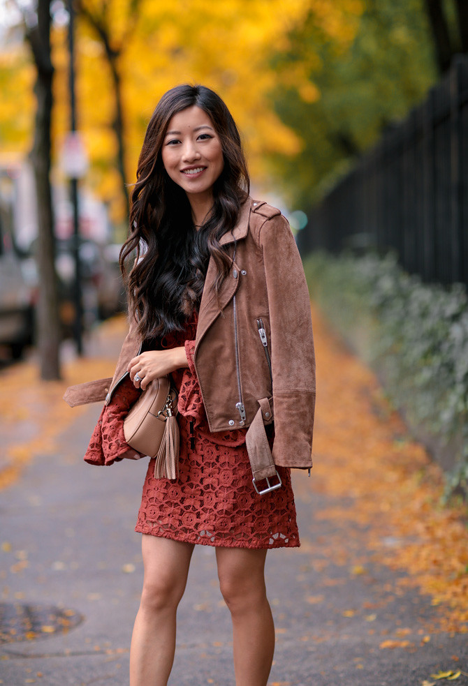 fall lace dress date night blank nyc morning suede jacket