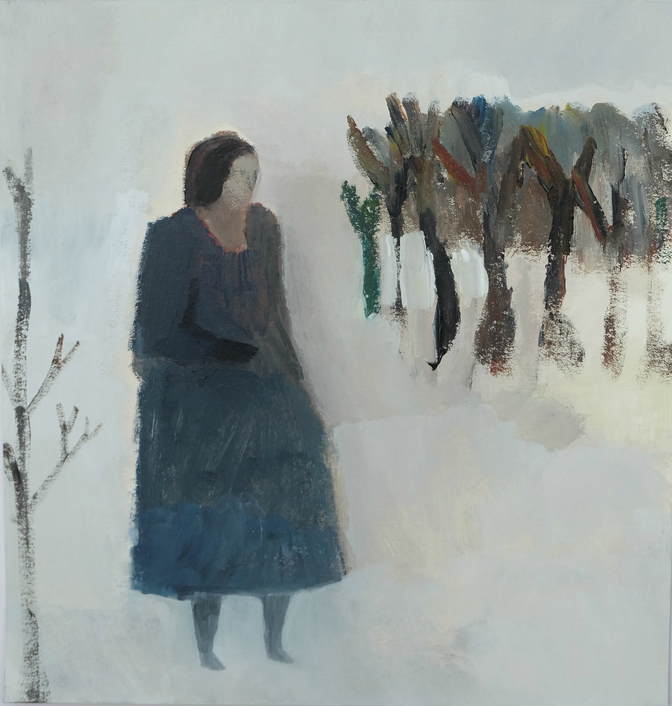 solitary walker in a winter landscape