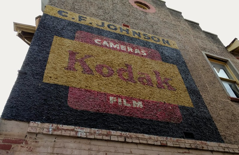Ripponlea, sign for Kodak film on the side of old chemist