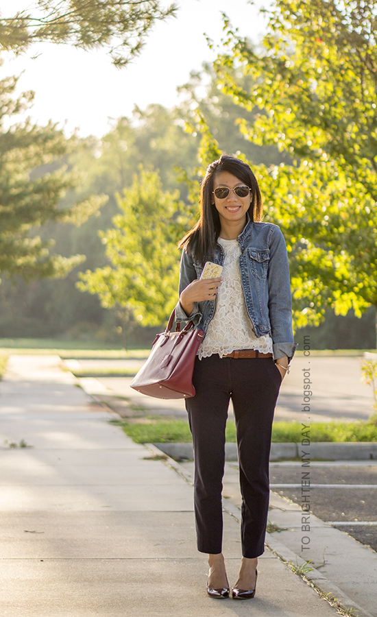 denim jacket, floral lace top, brown belt, navy pants, red purple tote, floral cuff, burgundy pumps