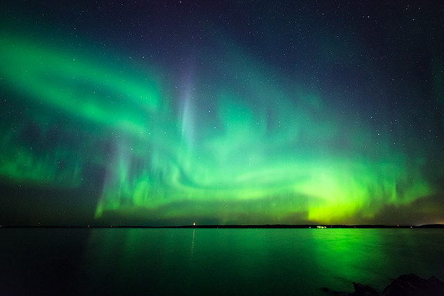Northern lights at lake