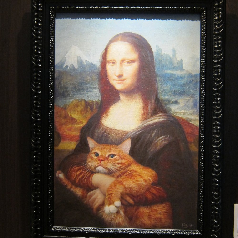 Mona Lisa with her Cat at Sazai HallTemple of Five Hundred Rakan, Thirty-seventh view of Mount Fuji