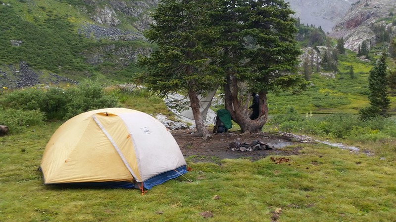 Our campsite in the rain at Moon Lake